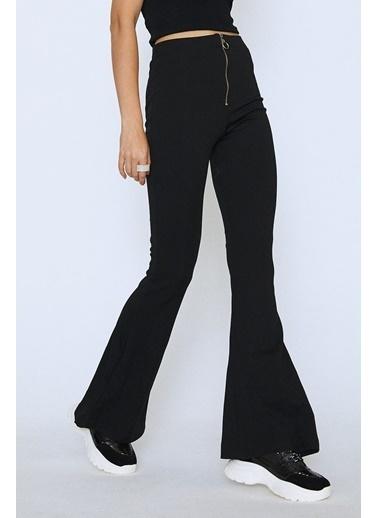 Quzu İspanyol Paça Yüksek Bel Fermuarlı Pantolon Siyah